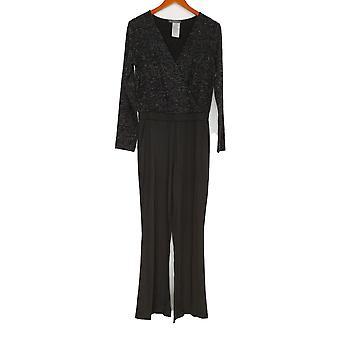 Lisa Rinna Collection Jumpsuits Long Sleeve V Neck Black A298370