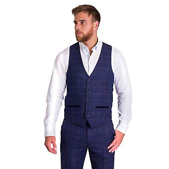 Marc Darcy Harry Indigo Single Breasted Blue Check Tweed Waistcoat