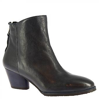 Leonardo Shoes Women's handmade heels ankle boots blue calf leather with zip
