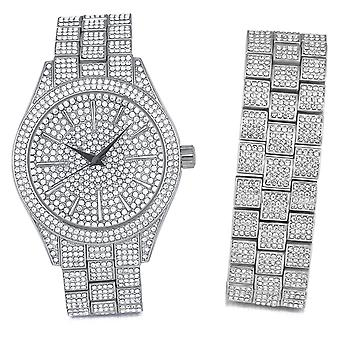 Full Iced Out Bling Uhr Armband Set - silber