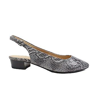 Caprice 29403 Grey Snake Skin Effect Leather Womens Slingback Shoes
