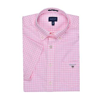 Gant Broadcloth Gingham Short Sleeve Shirt Shadow Rose