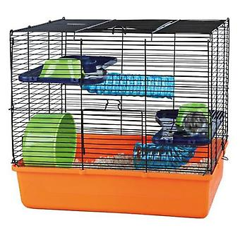 Trixie Hamster Foldable Cage (Orange, Blue, Green / 40x38x30 Cm)