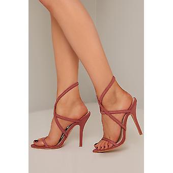 Strappy Pink Open Toe Heels