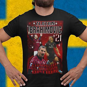 Zlatan Ibrahimovic t-shirt med Ac Milan stil design