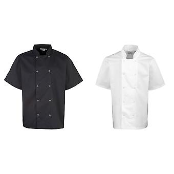 Premier Unisex Studded Front Short Sleeve Chefs Jacket (Pack of 2)