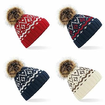 Beechfield Womens/Ladies Fair Isle Faux Fur Pop Pom Beanie