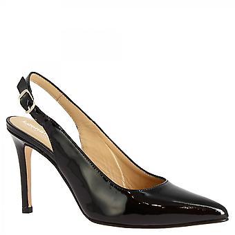 Leonardo Sko Dame's håndlagde slingback hæler pumper sko svart skinnende skinn