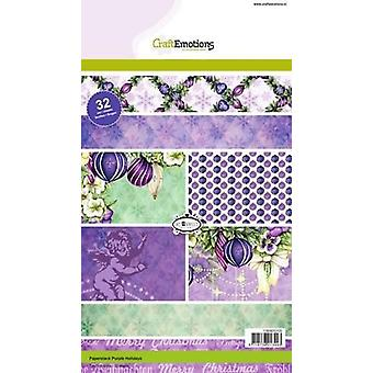 CraftEmotions Paper stack Purple Holiday 32 folhas A5