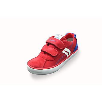 Geox j kilwi red canvas and suede trainers