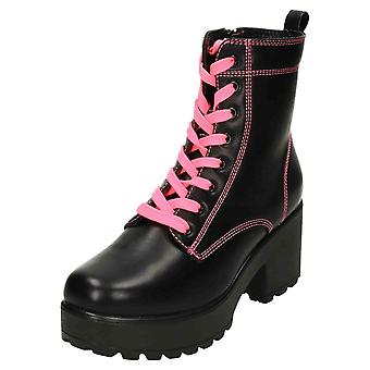 Koi Footwear Chunky Platform Ankle Neon Lace Up Boots