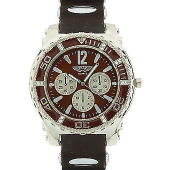Prince London Gents Large Dial Chrono Effect Brown Rubber Strap Casual Watch