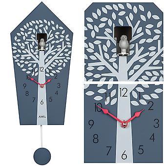 AMS 7287 Cuckoo Clock Wall Clock Quartz with Pendulum Red Grey with Tree Pattern Pendulum Clock