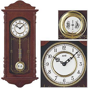 AMS 7013/1 Wall clock Quartz with pendulum wood walnut colors pendulum clock