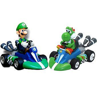 2-Pack Mario Kart Pull-back Racers Luigi + Yoshi Cars 12cm
