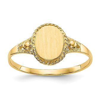 14k Sarı Altın Gravür Kapalı arka cilalı ve erkek veya kız fancy signet Yüzük Boyutu 6 için saden