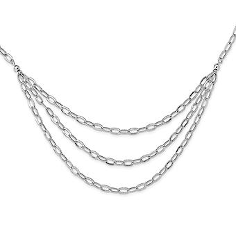 5mm 925 Sterling Silver Rhodium plaqué Multi brin Collier 20 Pouces Bijoux Cadeaux pour les femmes