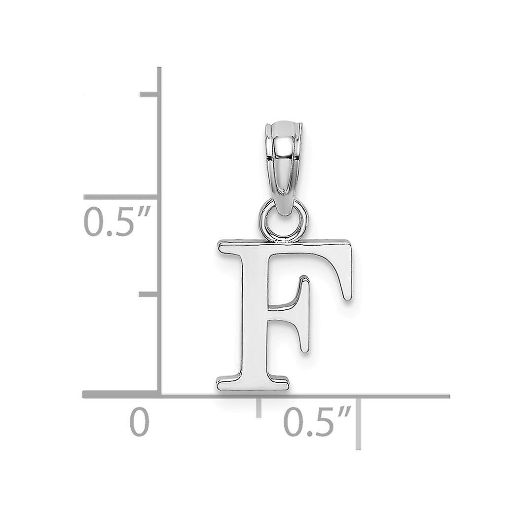 10k White Gold F Block Letter Name Personalized Monogram Initial High Polish Charm Pendant Necklace Jewelry Gifts for Wo