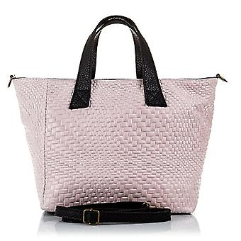 FIRENZE ARTEGIANI. Women's bag in real leather. BORSA TOTE a real leather shoulder bag. Arabesque engraving skin. MADE IN ITALY. REAL ITALIAN SKIN. 32 x 23 x 14 cm. Color: pink