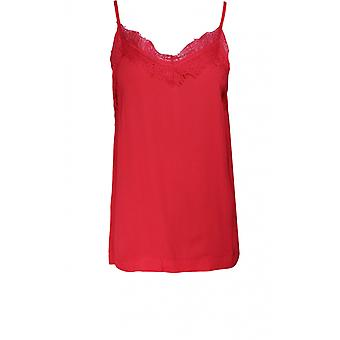 b.young Spiced Red Lace Detailed Vest Top