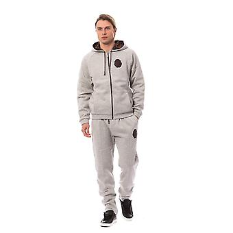 Gray cotton hooded sweatsuit a47