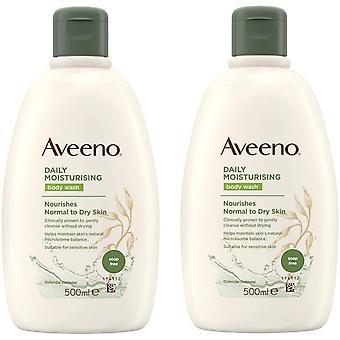2 x 500ml Aveeno Codziennie Nawilżający myjnia ciała Normalna/Sucha/Wrażliwa skóra