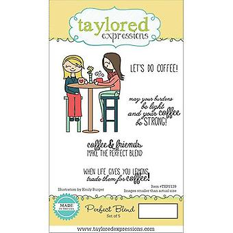 Taylored Expressions - Cling Stamps - Perfect Blend - Coffee Theme, Greetings and Sentiments