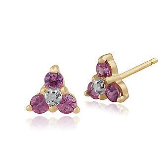 Klassinen pyöreä vaaleanpunainen safiiri & timantti klusterin stud korvakorut 9ct keltainen kulta 10164