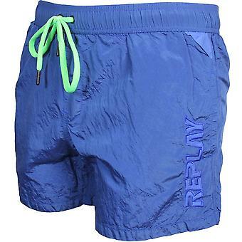 Replay Luxe Side Tonal Logo Swim Shorts, Blue