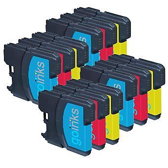 4 sets C/M/Y-cartridges ter vervanging van Brother LC980 & LC1100 Compatible/non-OEM by Go-inkten (12 inkten)