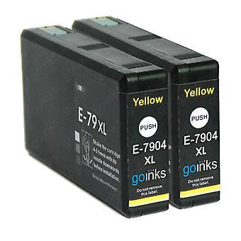 2 Go Musteet Keltainen Mustekasetit korvata Epson T7904 (79XL-sarja) Yhteensopiva / ei-OEM Epson WorkForce Pro Tulostimet
