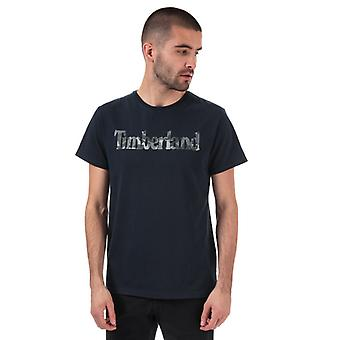 Men's Timberland Pattern Linear Logo T-Shirt in Blue