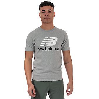 Men's New Balance Essentials Stacked Logo T-Shirt in Grey