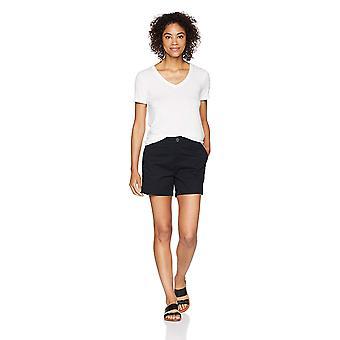 """Essentials Women's 5"""" Inseam Solid Chino Shorts, -black, 4"""