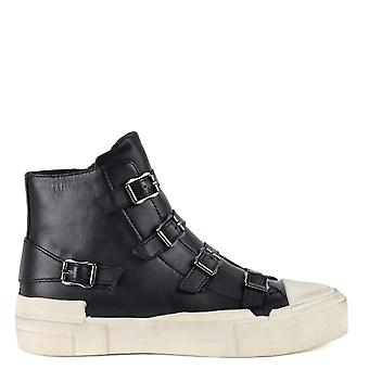 Ash GANG Buckle Trainers Black Leather