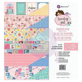 Prima Marketing Traveling Girl 12x12 Inch Paper Pad