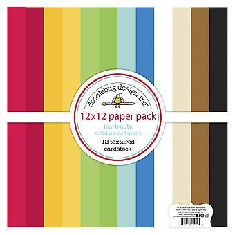 Doodlebug Design Bar-b-cute 12x12 Polegada Textured Cardstock Paper Pack