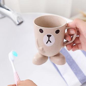 Verre de salle de bains de conception de dessin animé pour le rince-bouche, brosse à dents - bain portatif de stand
