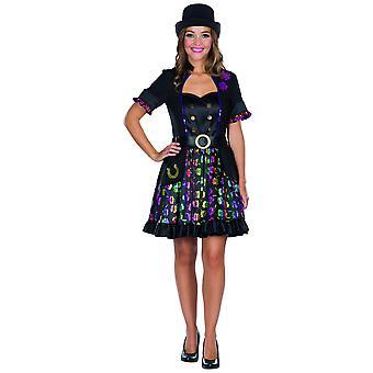 lucky sweeper naisten puku kiilto mekko nuohoo musta värikäs naisten mekko