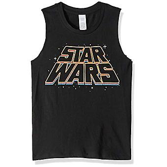 Star Wars Junior's Women's Fashion Muscle Tees, Black // Slanty Logos, x-Small