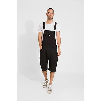 Jesse mens slim fit cotton dungaree shorts - black