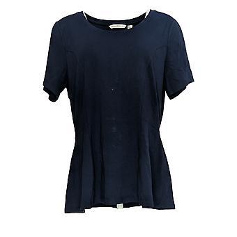 Isaac Mizrahi Live! Women's Regular Top Peplum Knit Blue A373603