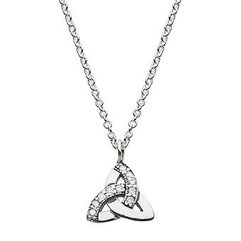 Heritage Sterling Silver Celtic Triangle Cubic Zirconia Necklace 9289CZ026