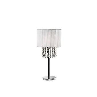 1 Lys bordlampe Krom, Hvid, Krystal med hvid skygge, E27