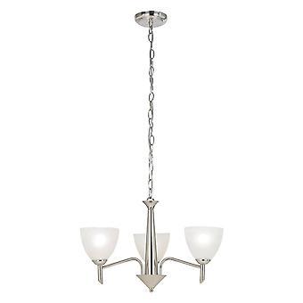3 Light Multi Arm Ceiling Pendant Satin Nickel, Alabaster Glass, E14