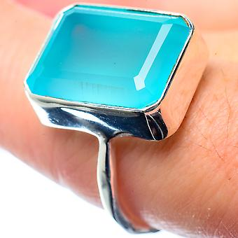 Aqua Chalcedony Ring Size 8 (925 Sterling Silver)  - Handmade Boho Vintage Jewelry RING26486