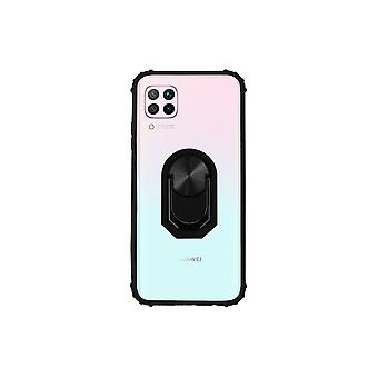 Huawei P40 Lite Case Transparent Black - Ring Popsocket