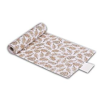 Gold Linen Table Runner Christmas Cone and Leaves 3m Xmas Table