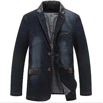 Gemdeck Men Loose Fit Single Breasted Lapel Casual Plus Size Denim Blazer Jacket Suits Coat