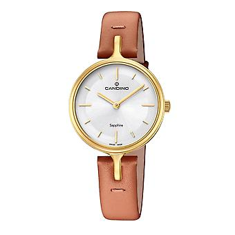 Candino Swiss C4649-1 Women's Gold Tone With Brown Leather Strap Wristwatch
